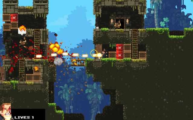 8-bit game with explosions