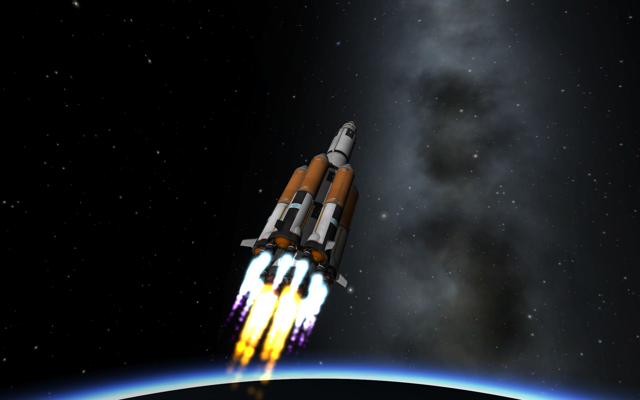Spaceship reaching orbit while still flying on boosters